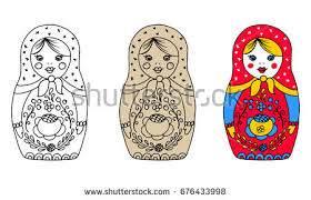decorative matryoshka doll folk floral ornament stock vector