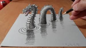 how i drew a 3d loch ness monster