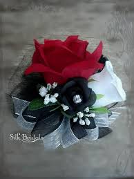 Black And White Corsage Red Black White Roses Wrist Corsage Wedding Bridal Flowers Mother
