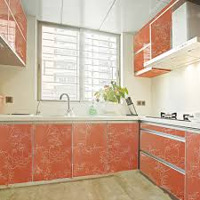 online buy wholesale gloss kitchen cabinets from china gloss yazi gloss orange peony self adhesive removable wall sticker kitchen shelf liner wallpaper sticker mural