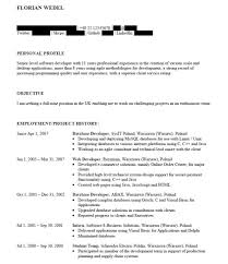 Database Developer Sample Resume by Work Examples Infinity Careers