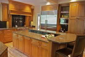 contemporary narrow kitchen with american birdseye maple oaken