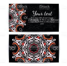 Invitation Business Cards Invitation Business Card Or Banner Template Round Floral Vector
