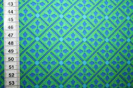 Muster Blau Grün Stenzo Baumwollstoff Muster Retro Gr禺n Blau Renee D De