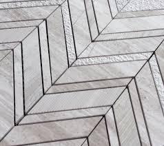 Marble Mosaic Tile White Oak Silver Cream Chevron Multi Finish Marble Mosaic Tile