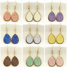 gold teardrop earrings 9 colors 2018 resin druzy teardrop earrings for women gold fashion