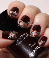 marias nail art and polish blog rouge noir with flowers and gold