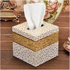 decorative tissue box modern luxury home square wood leather decorative tissue napkin