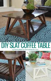 Free Plans For Wooden Coffee Table by Remodelaholic Diy Slat Coffee Table