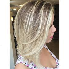 straight mid length ash blonde hair with layers medium length
