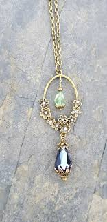 flower drop necklace images Suffragette inspired antique gold flower drop necklace jpg