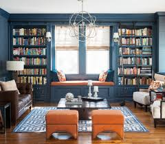 built in bookshelves family room transitional with nailhead trim
