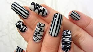 eye catching stripes of nails black and white nail art picsmine