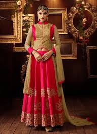 Pink Colour Combination Dresses by Buy Beige And Dark Pink Color Net And Mellisa Silk Party Wear