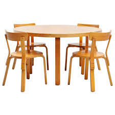 alvar aalto dining table set with chairs for artek 1950 at 1stdibs