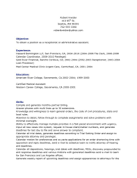 Resume For Paralegal With No Experience Resume Examples For Medical Receptionist Resume Example And Free