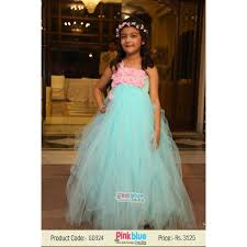 elegant designer cyan baby birthday tutu dress with pink flower