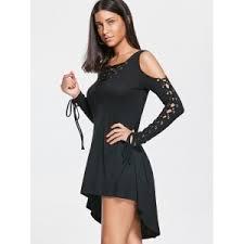 black cut out dress black xl open shoulder lace up cut out dress rosegal