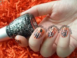 halloween manicure neon orange glitter and stripes aka i