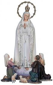 statue with our of fatima statue with seers