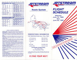 Piedmont Airlines Route Map by Airline Timetables Jetstream International Airlines June 1985
