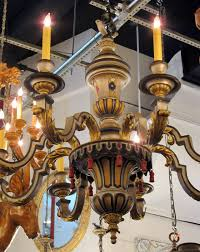 1900s hand painted wood french country style 8 arm chandelier