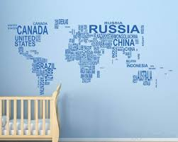 world map with countries name map country names vinyl decals modern wall stickers