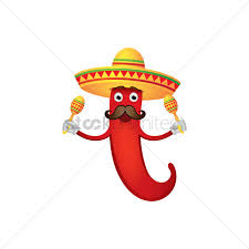 cartoon sombrero chili pepper with sombrero hat and maracas vector image 1983223