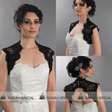 2017 cheap black lace bridal bolero jacket sleeveless wedding