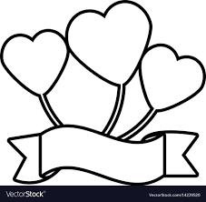 heart ribbon balloon heart ribbon decorative outline royalty free vector