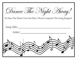 wedding song request cards wedding party song request cards black white print your own