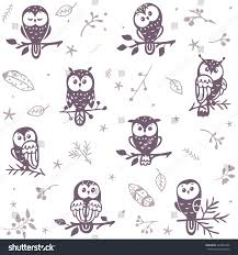 cute owl pumpkin carving pattern beautiful seamless pattern silhouette cute owls stock vector