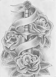 heart and sword tattoos sword and roses tattoo by keepermilio