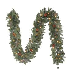 9 ft greenland artificial garland with 50 clear lights