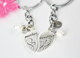mother and daughter keychains heart keychains set keychains
