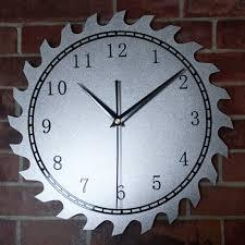 original metal texture wheel gear wall clock art creative design