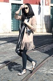 suede fringe jacket and gladiator sandals les berlinettes
