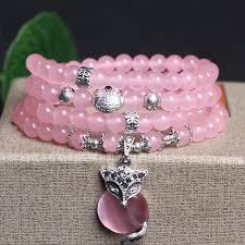 bracelet quartz rose images Bracelet en perles de quartz rose orn d 39 un pendentif en feuille d jpg