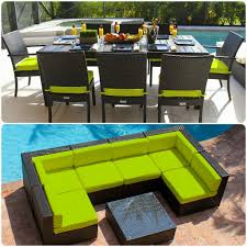 Lime Green Patio Furniture by 16 Piece Modern Outdoor Patio Furniture Sofa Sectional Dining