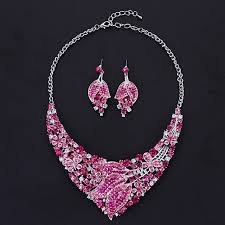 coloured crystal necklace images Support mixed colour and style in wholesale newest wedding jpg