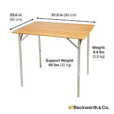 bamboo portable folding picnic table with adjustable height large
