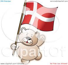 cartoon of a teddy bear with a denmark flag royalty free vector