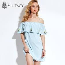 light blue mini dress vintacy women mini dress off shoulder slash neck light blue short