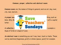 proper common abstract and collective nouns lesson plan and