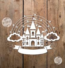 rainbow castle svg pdf design papercutting vinyl template