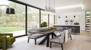 contemporary kitchen and dining room in a modern extension cozy