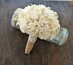 Shabby Chic Wedding Bouquets by Handmade Wedding Bouquet Small Ivory Burlap Bridal Bouquet