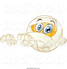 stock cartoon of a halloween mummy emoticon reaching by yayayoyo