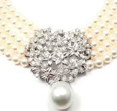 choker necklace pearl images Mikimoto five strand pearl diamond white gold choker necklace at jpeg