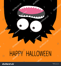 cute halloween background pack happy halloween card monster head silhouette stock vector